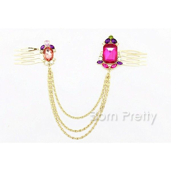 $5.58 1pc Elegant Bling Colorful Rhinestoned Chain Tassel Hair Comb Hair Band - BornPrettyStore.com