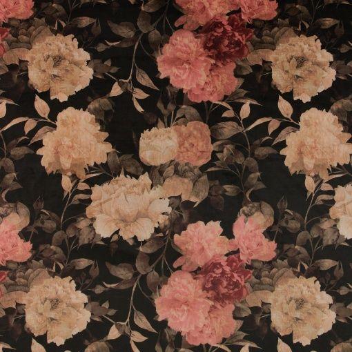Möbelsammet svart m gyllen blomma