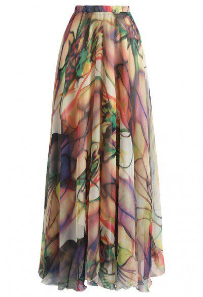 203a29c4e526 Tropical Floral Watercolor Maxi Skirt in White - Skirt - BOTTOMS - Retro,  Indie and Unique Fashion