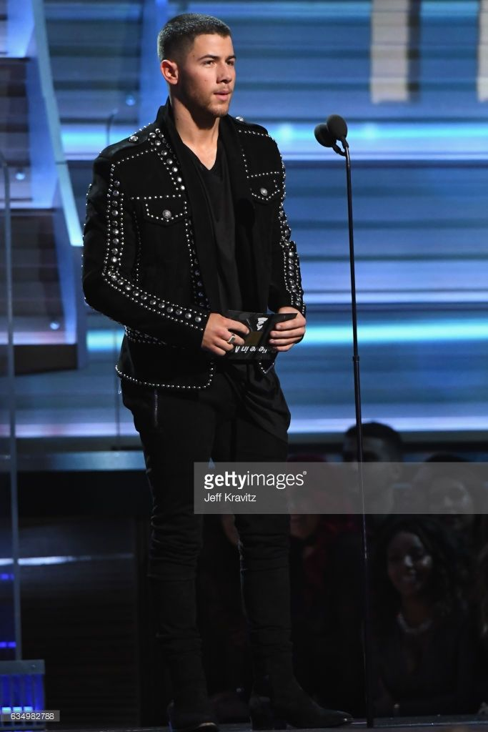 Singer Nick Jonas speaks onstage during The 59th GRAMMY Awards at STAPLES Center on February 12, 2017 in Los Angeles, California.