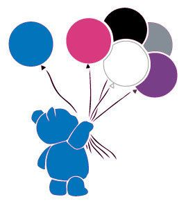 Blue Teddy With Balloons
