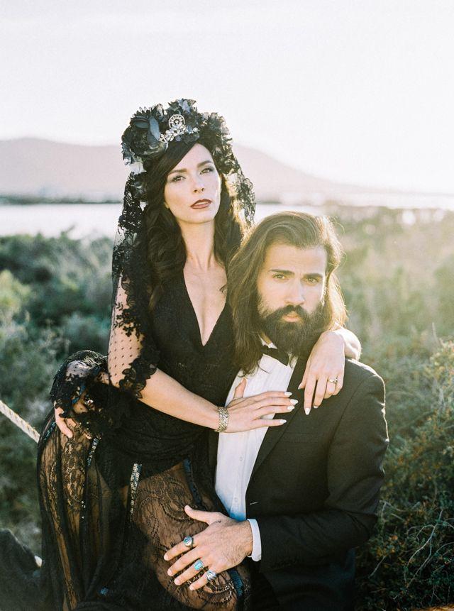 Black wedding dress | Ana Lui Photography | see more on: http://burnettsboards.com/2015/05/edgy-flamenco-wedding-inspiration/