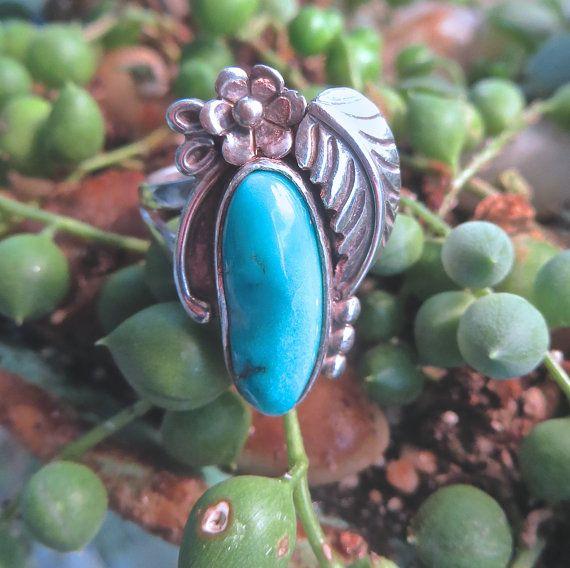 Native American Navajo Sterling Turquoise by VintageVogueTreasure, $72.00
