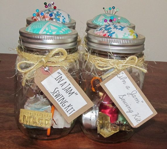 "Mason Jar ""In a Jam"" Sewing Kit with Handcrafted Pin Cushion Lid... I Cannot wait to make this.. looks way better than the dollar store travel kit.."