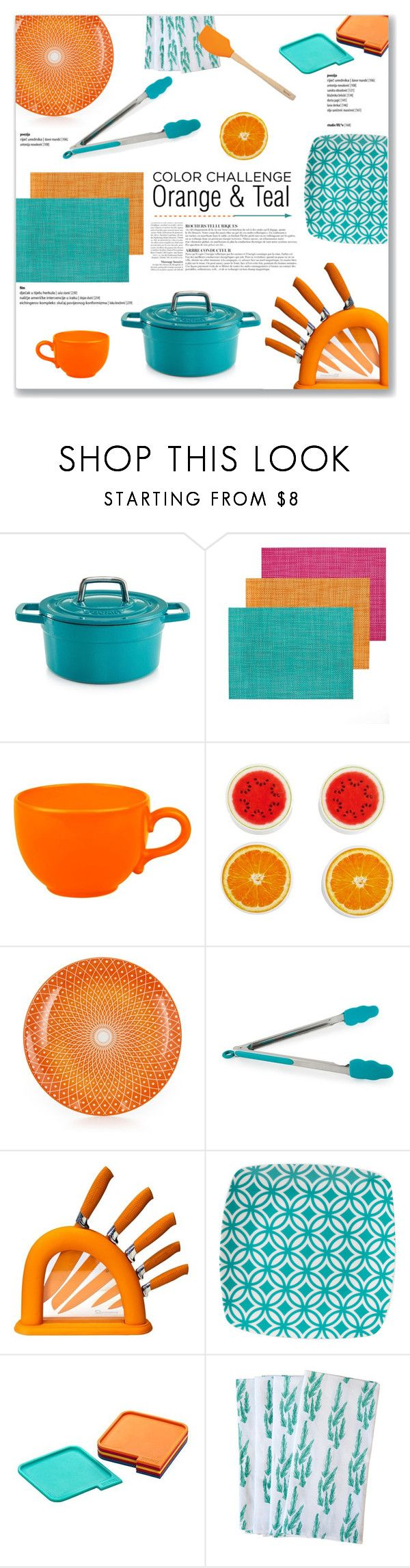 """Orange & Teal Kitchen Accessories"" by kellylynne68 ❤ liked on Polyvore featuring interior, interiors, interior design, home, home decor, interior decorating, Martha Stewart, Chilewich, Waechtersbach and Farberware"