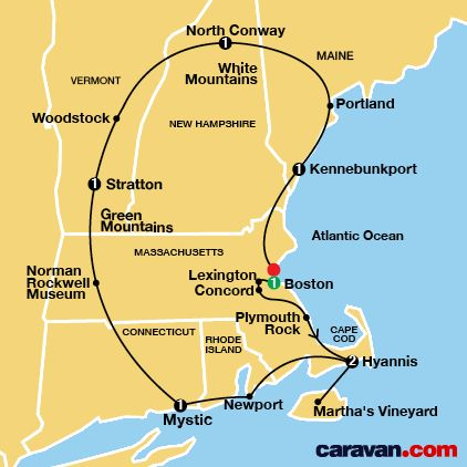 New England Tour Map (Caravan Group Tours/Yellowstone)