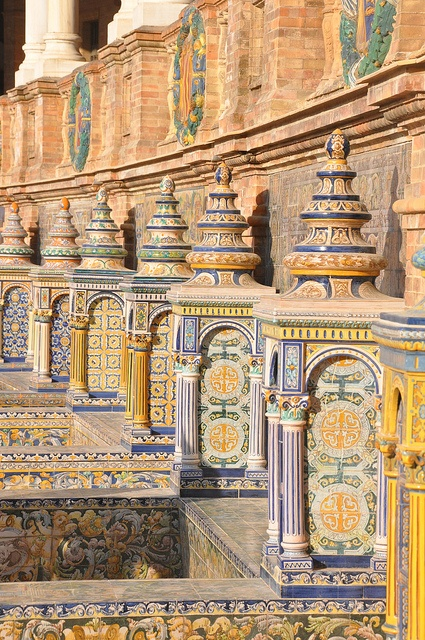 Amazing ceramic tile work in Plaza de España, Seville, Spain---loved the plaza, the tile work was amazing...ms