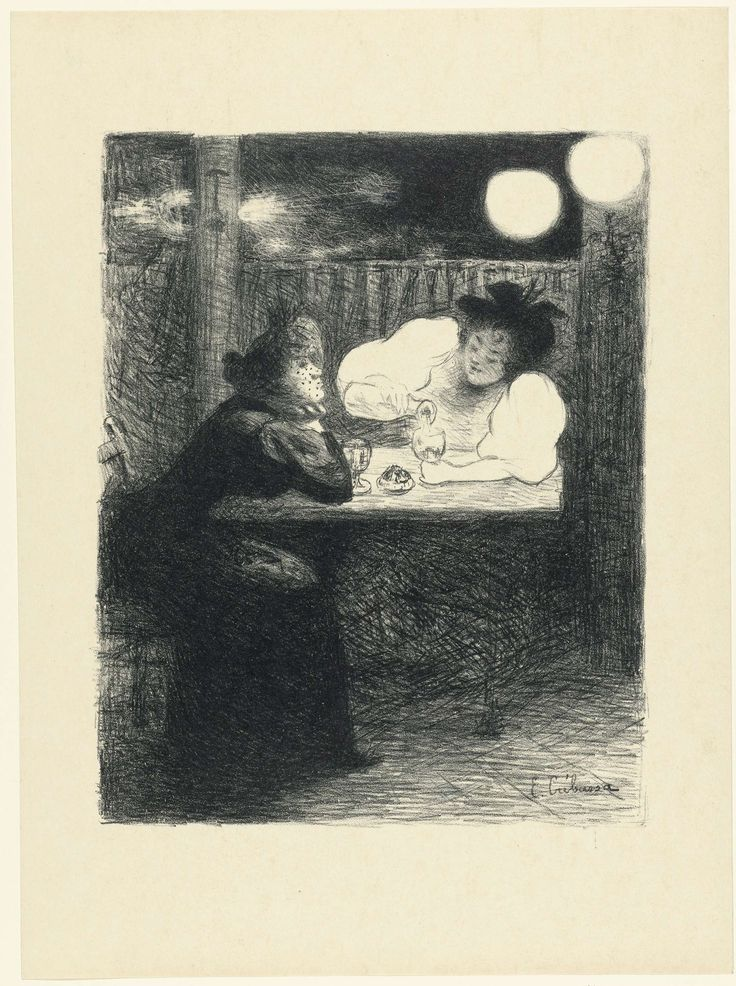 Edouard Crébassa | Twee vrouwen drinken absint aan tafel in café, Edouard Crébassa, L'Epreuve, P. Lemaire, 1892 - 1894 | Twee vrouwen zitten aan een tafel in een café. De vrouw links leunt op de tafel met haar ellebogen en ondersteunt haar hoofd met haar handen. De andere vrouw schenkt haar glas vol uit een fles. Met haar lichte kleding steekt zij af tegen de donkere achtergrond.