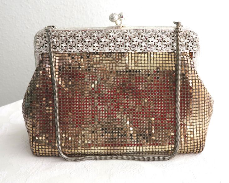 Vintage gold mesh bag with intricate silver metal filigree frame with rose topped kiss lock, silver snake chain handle, Glomesh, 1970s by CardCurios on Etsy