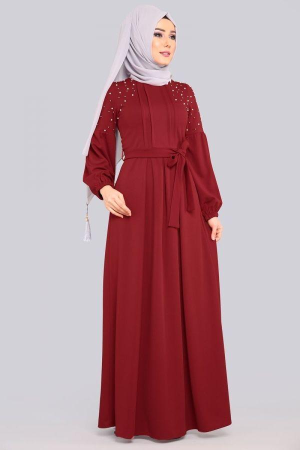 ** YENİ ÜRÜN ** Prenses Kol İncili Elbise Bordo Ürün Kodu: MDB3891 --> 89.90 TL