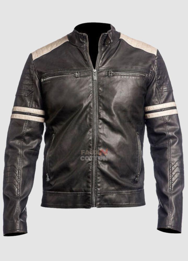 Vintage Biker Style Retro Motorbike Genuine Leather Jacket Black
