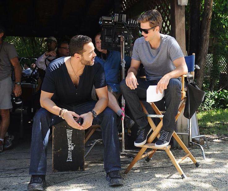 Daniel and Aaron on the set of Graceland season 3