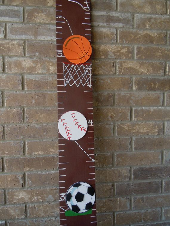 Boys Hand Painted Sports Growth Chart by CreatingMoore on Etsy, $25.00
