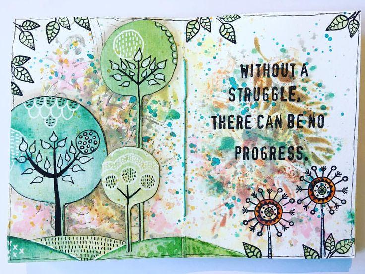 "224 gilla-markeringar, 10 kommentarer - Melina Dahl  (@minaskreativa) på Instagram: ""Art journal spread, stamps and stencils from @rubberdance and @thatscraftyuk #artjournal…"""
