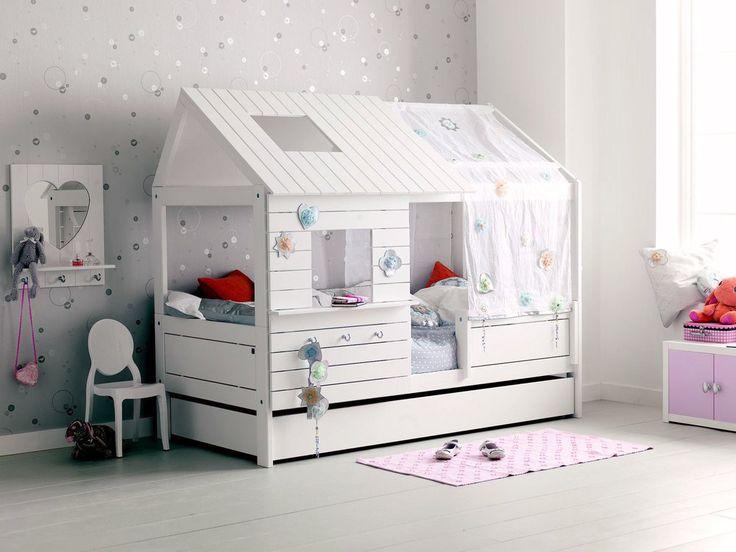 Lit cabane Fille 90x200cm blanc EMILIE Alfred et Compagnie