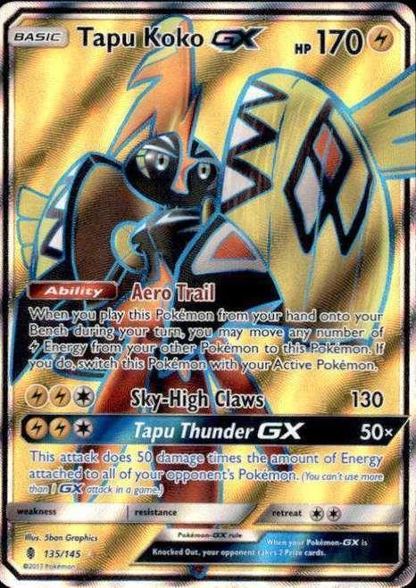 Pokemon Guardians Rising Tapu Koko-GX 135/145 Full Art Ultra Rare Card
