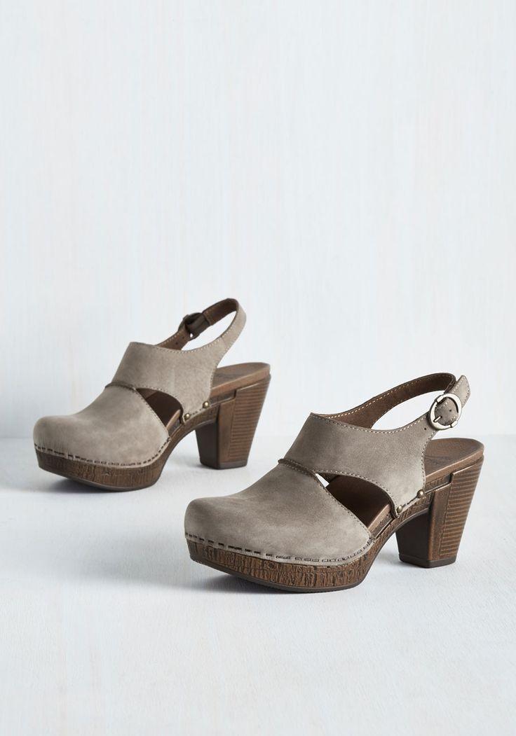 Coffee Shop Keeper Heel by Dansko - Grey, Brown, Solid, Cutout, Casual, Minimal, Best, Chunky heel, Mid, Leather, Suede