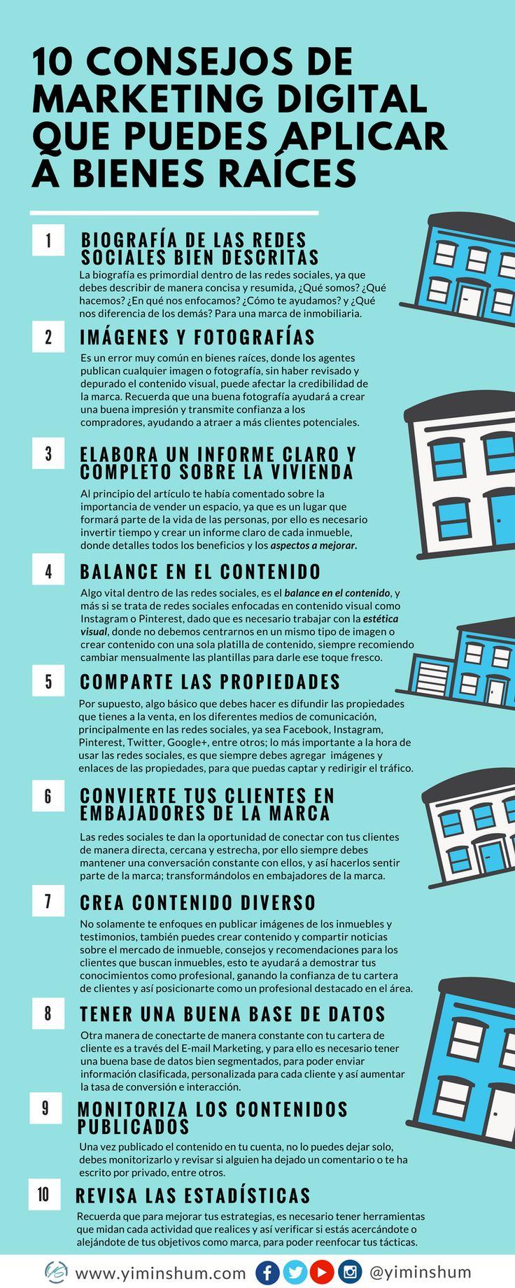 10 consejos de marketing digital que puedes aplicar a bienes raíces #infografia