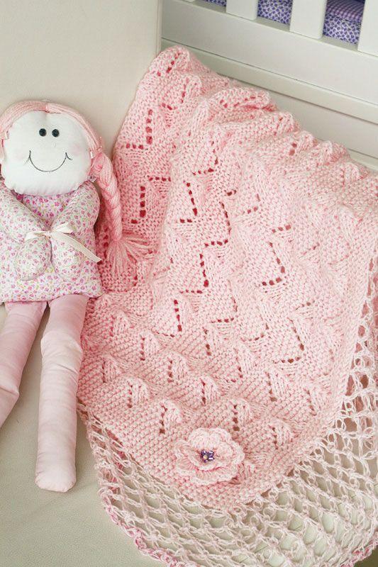 Manta rosa de tricô com barrado em ponto segredo de crochê / DIY, Craft, Upcycle