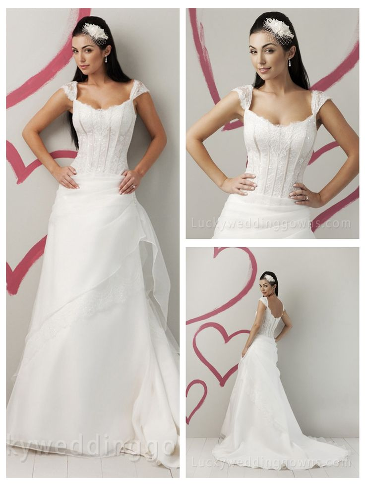 A-LINE BEADED SIMPLE SUMMER WEDDING DRESS WITH CAP SLEEVES AND SCOOP NECK
