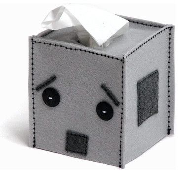 Robot Tissue Box Cover by Snotty Bots eclectic-kids-decor