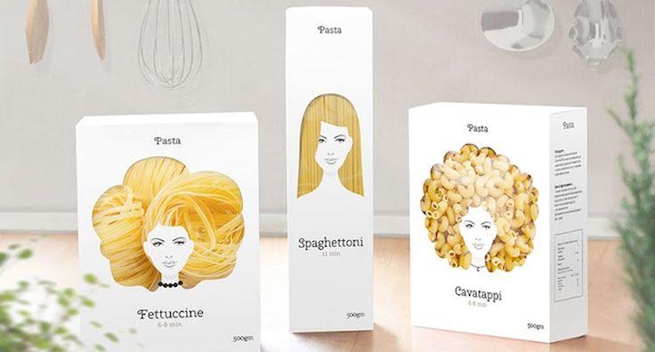 Un'idea chiara e semplice: d'altra parte, le fettuccine non sembrano capelli biondi mossi? #packaging #design