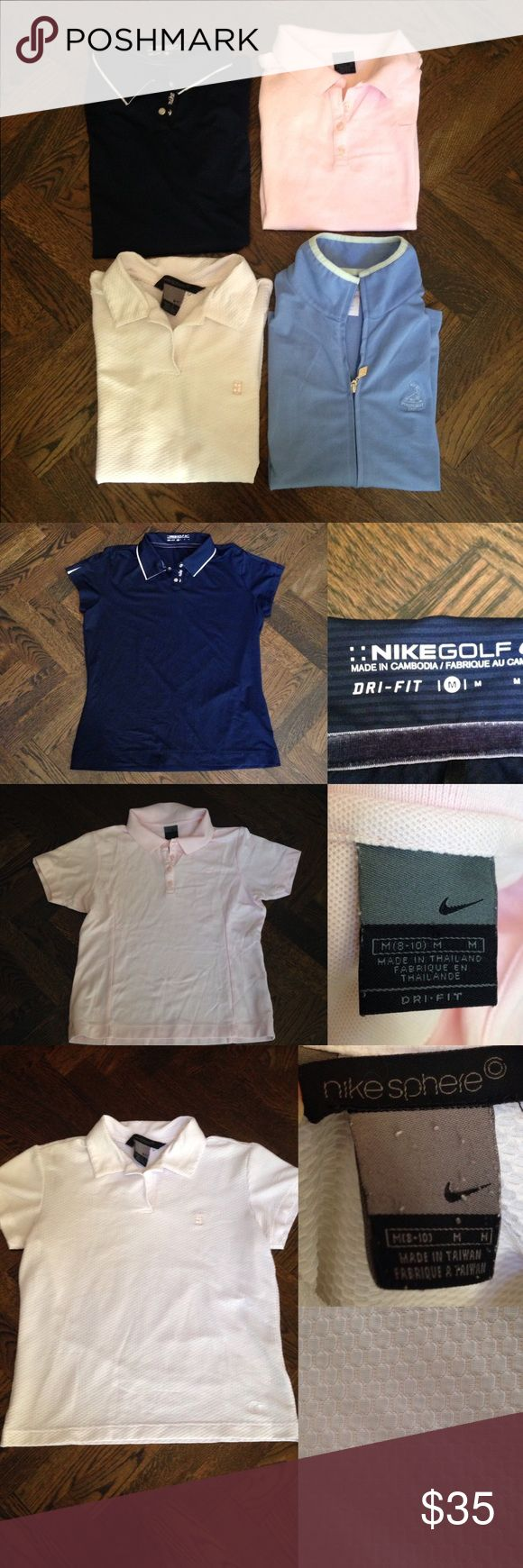Women's golf shirts and vest Bundle!! All items in great condition! All size mediums.    Includes: Nike golf shirt (navy blue with white trim). Nike golf polo (baby pink). Nike Sphere polo (white texturized). Vest from Pinehurst. Nike Tops