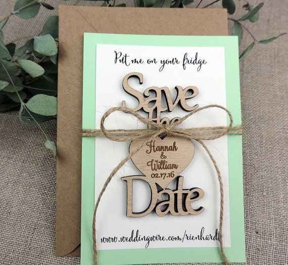 Custom Save The Date Magnet, Save The Date Magnet, Rustic Wedding Favor, Personalised Wooden Wedding Gift,  Bridal Shower Favor, Mint Green