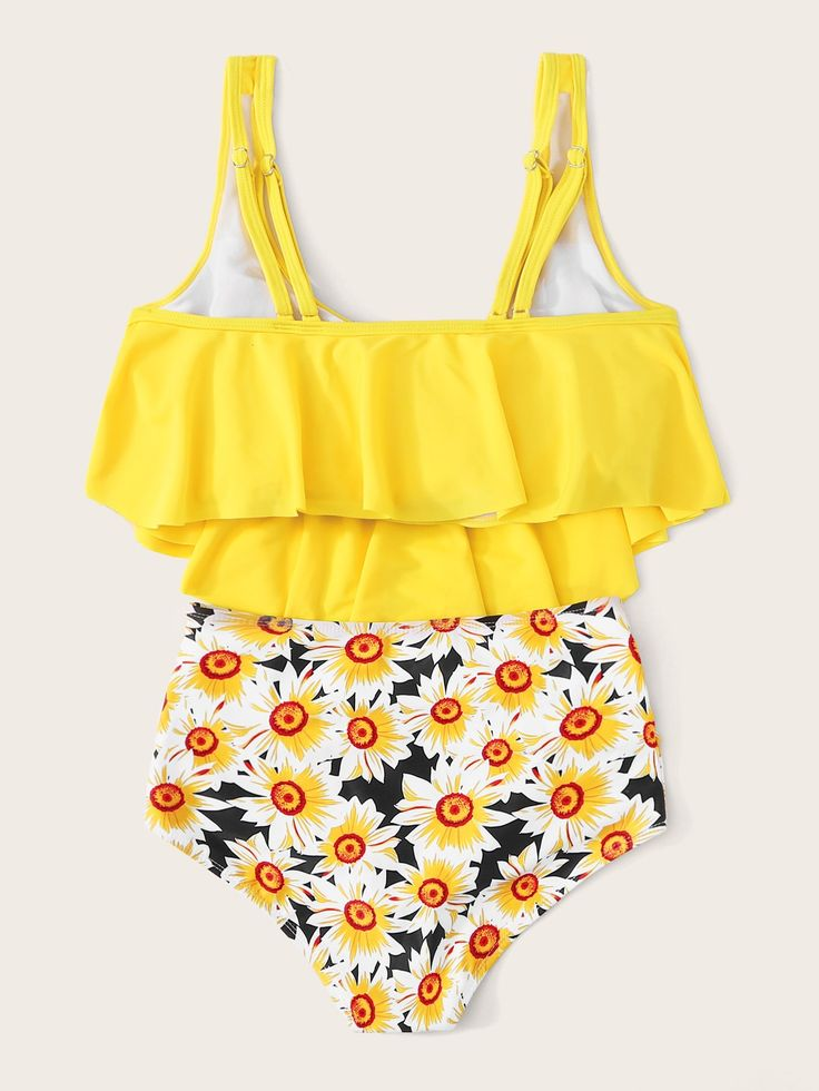 Ad: Hanky Hem Top With Daisy Bikini Set. Tags: Yes,can be removed, Yellow, Ruche…