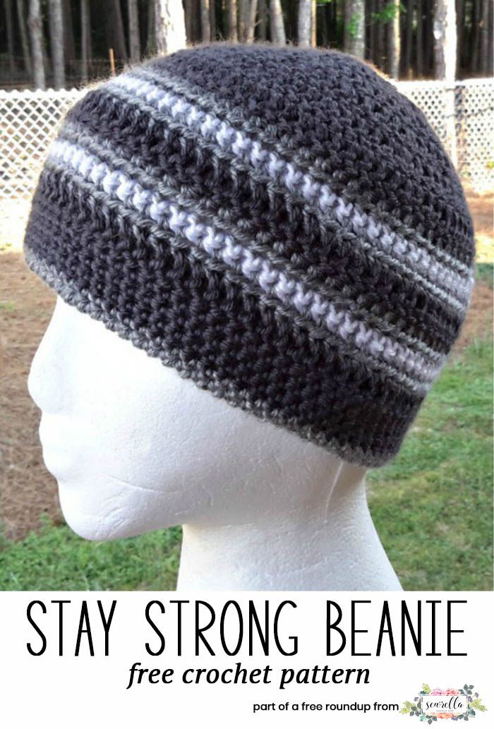 Crochet this easy mens hat called the Stay Strong Beanie from Elk Studio Handcrafted Crochet Designs from my husband approved free crochet hat pattern roundup!