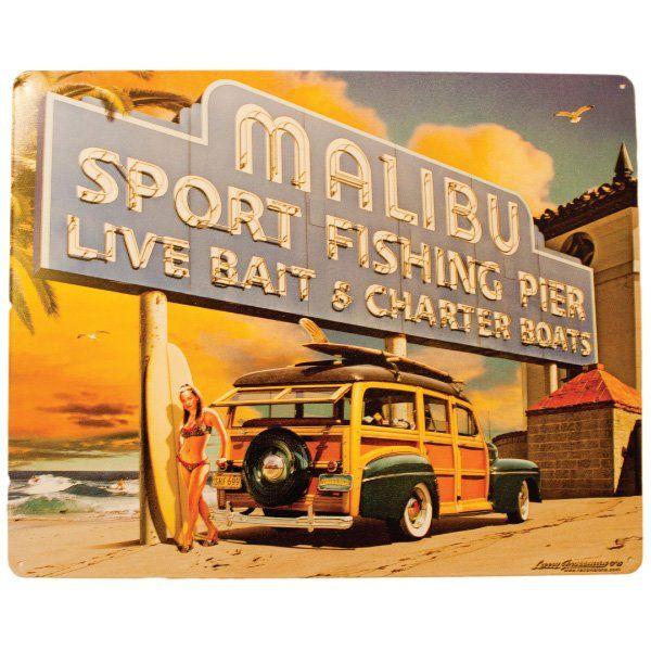 "Vintage Metal Sign - Malibu Fishing Pier - 12"" x 15"" | Nautination gifts for…"