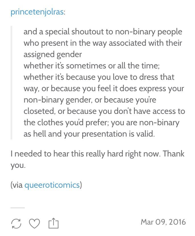 Special shout out to non binary people who...