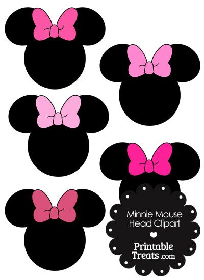 Minnie mouse head clipart with pink bows from for Free printable minnie mouse bow template