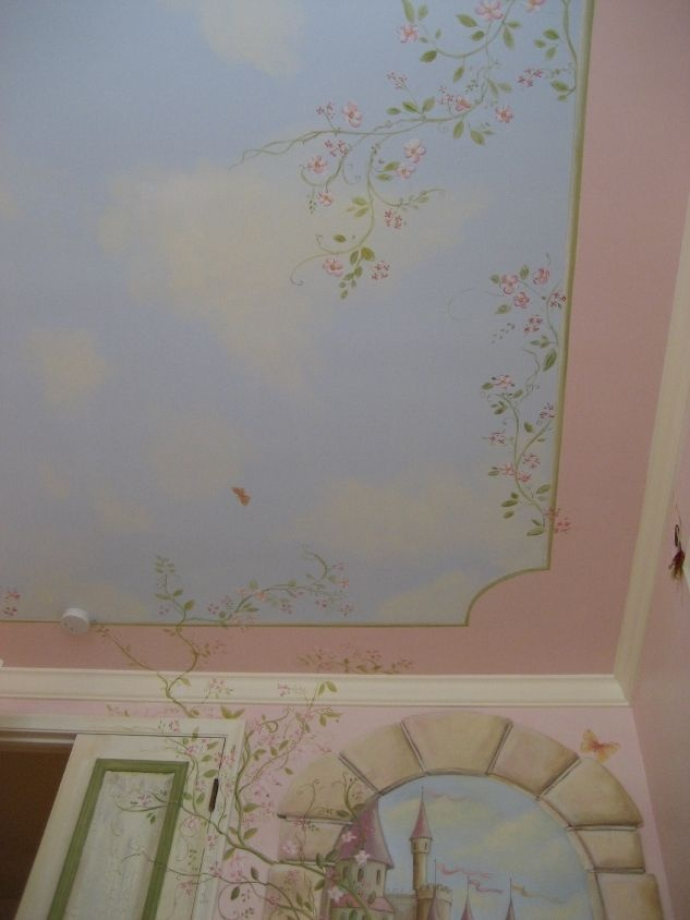 Chloe's Princess room- wall and ceiling mural mural idea as seen on  www.findamuralist