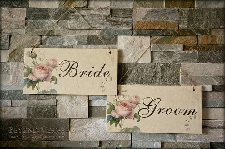 Romantic Wedding signs Bride & Groom Wedding stationery