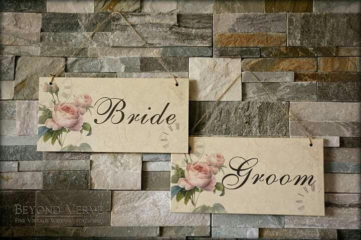 Romantic Wedding signs Bride & Groom Wedding stationery