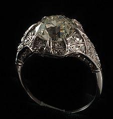 Platinum and diamond ring, 2.71ct centre cushion cut diamond