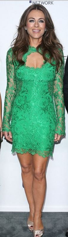Who made Elizabeth Hurley's green cut out lace dress? Dress – Emilio Pucci