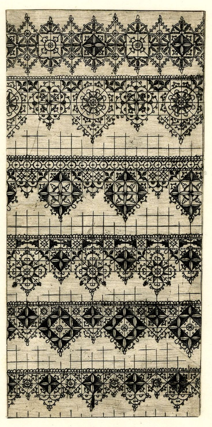 Fragments of geometric designs for embroidery patterns; from Sibmacher's 'Newes Modelbuch', Nuremberg 1601.  Etching