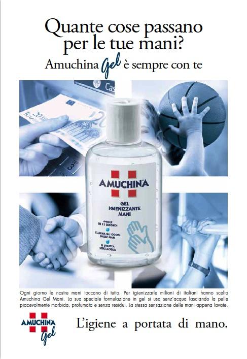 ADV, vetrina monotematica, concept e progettazione P.O.P, BTL per Angelini, Amuchina Gel