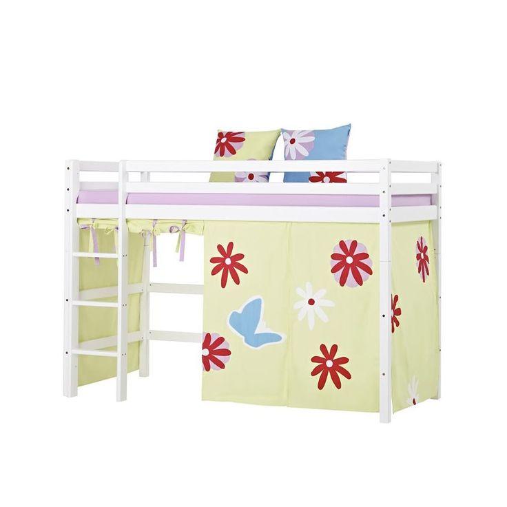 Cool Hoppekids Basic Butterfly Bett mittelhoch mit Vorhang Kiefer wei Jetzt bestellen unter https moebel ladendirekt de kinderzimmer betten hochbetten uid ud