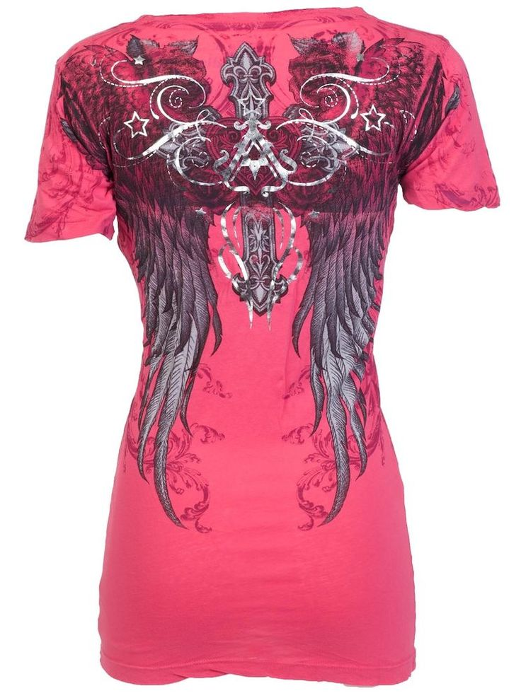 Archaic AFFLICTION Womens T-Shirt FLY HIGH Wings Tattoo Biker Sinful S-XL $40 b #Affliction #GraphicTee