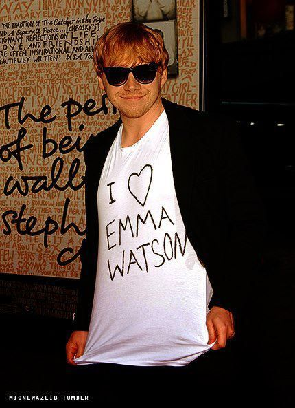 "Rupert Grint on the premiere of ""The Perks Of Being A Wallflower"" wearing Emma Watson t-shirt. Ahahaha"