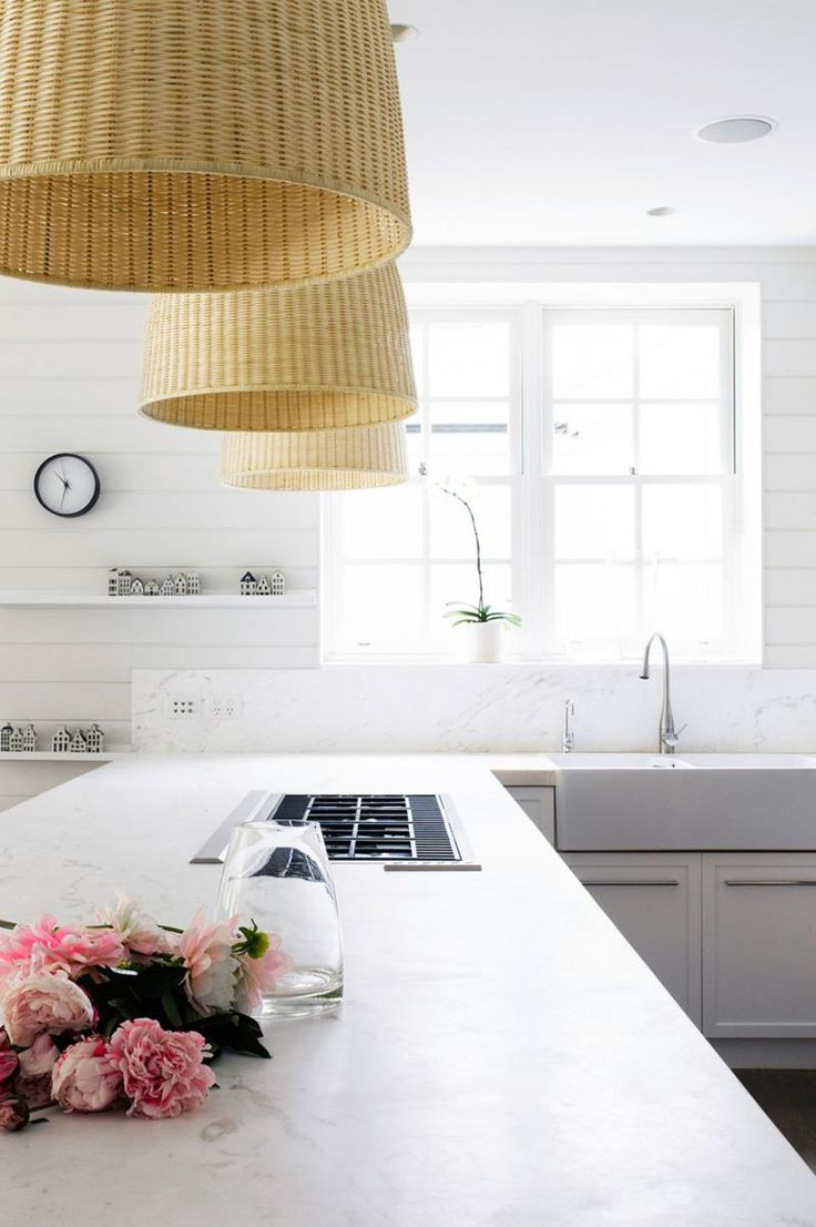 equestrian estates kitchen remodel see more shiplap walls and natural fibre basket weave pendant lights white marble benchtops