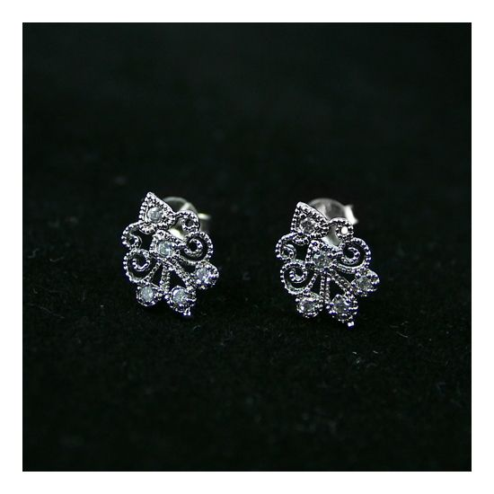 Silver and transparent cubic zirconia earrings.