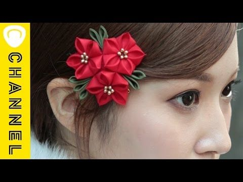 D.I.Y: Tsumami Kanzashiつまみ細工 -bunny and purple flower hair stick in CHIRIMEN,kimono fabric-Tutorial - YouTube