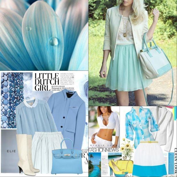 Голубой цвет - сочетание с другими цветами в одежде, фото
