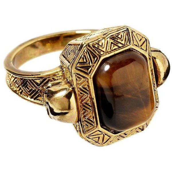 House of Harlow 1960 Engraved Skull Tigers Eye Cocktail Ring ❤ liked on Polyvore featuring jewelry, rings, gold, 14k ring, statement rings, tiger eye jewelry, house of harlow 1960 and 14 karat ring