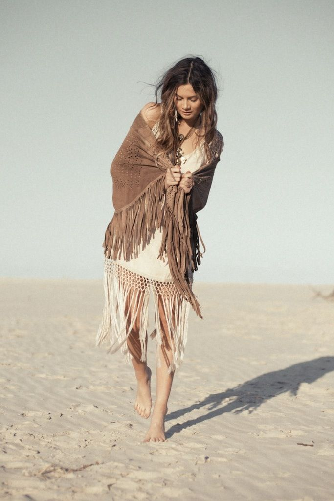 Modern hippie suede fringe wrap, boho chic skirt, neutral gypsy style. For MORE Bohemian trends FOLLOW http://www.pinterest.com/happygolicky/the-best-boho-chic-fashion-bohemian-jewelry-gypsy-/