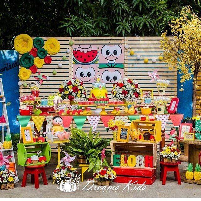 A Turma da Mônica ainda faz sucesso, adoro quando valorizam personagens nacionais! Festa bacana e colorida por @joaoemariafestas  #kikidsparty